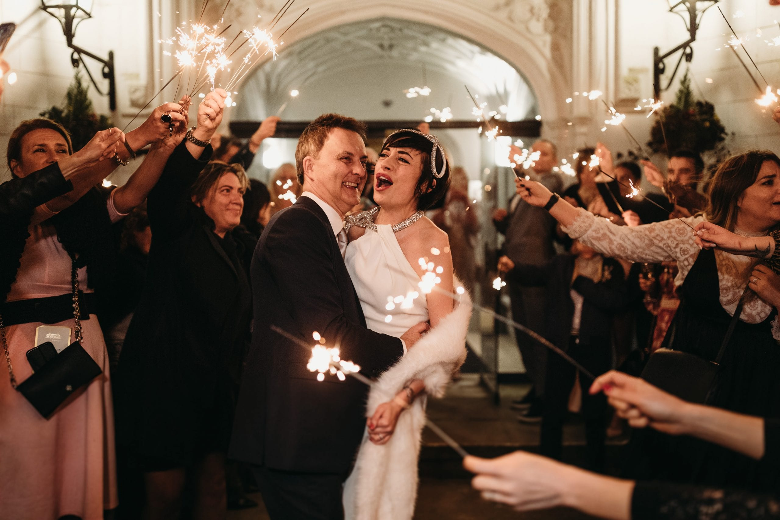 sparklers photo of bride and groomat a portrait of brisparkler photo of bride and groom at a Danesfield House wedding