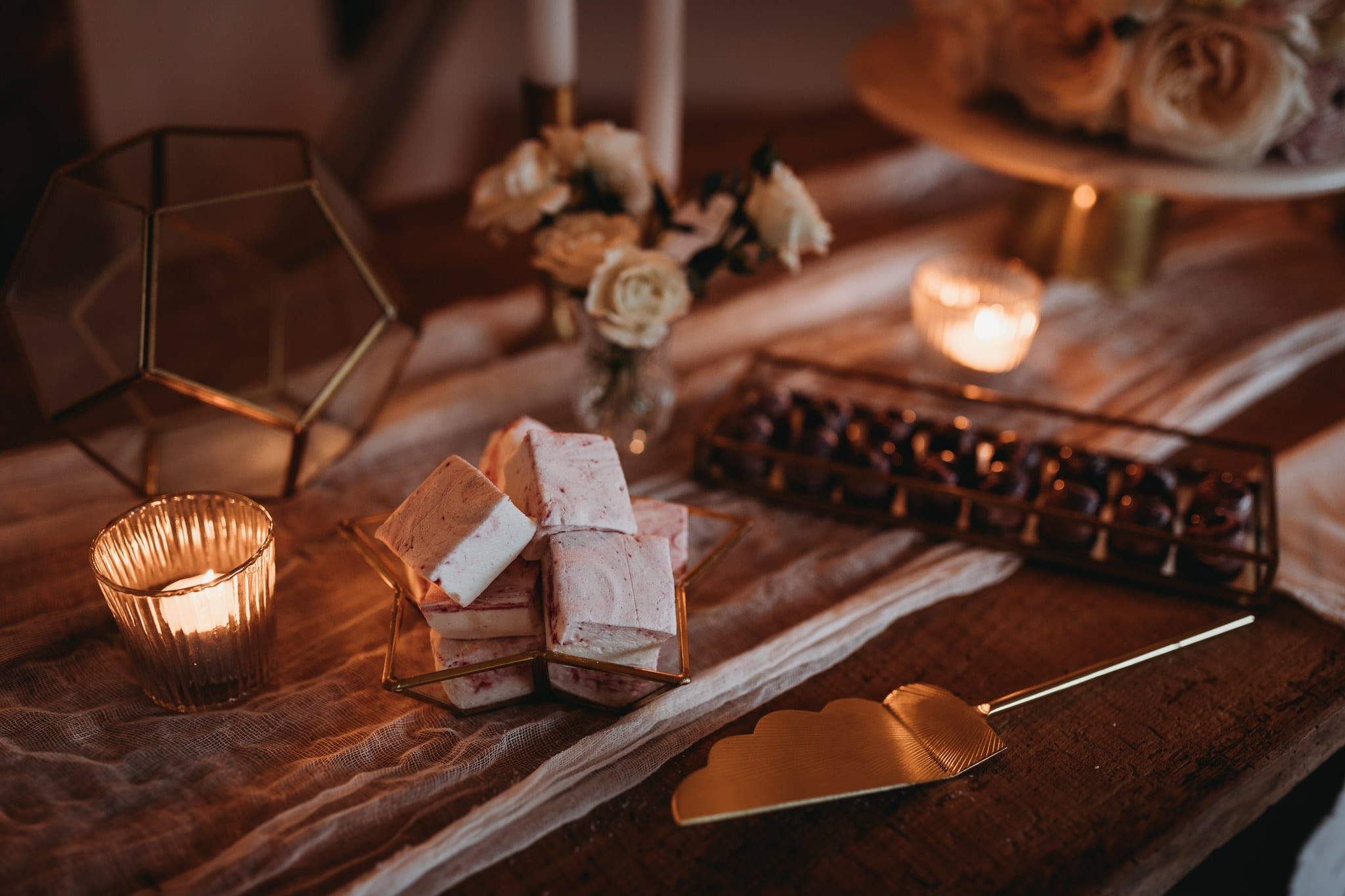 closeup of marshmallows at Granary Estates Intimate wedding