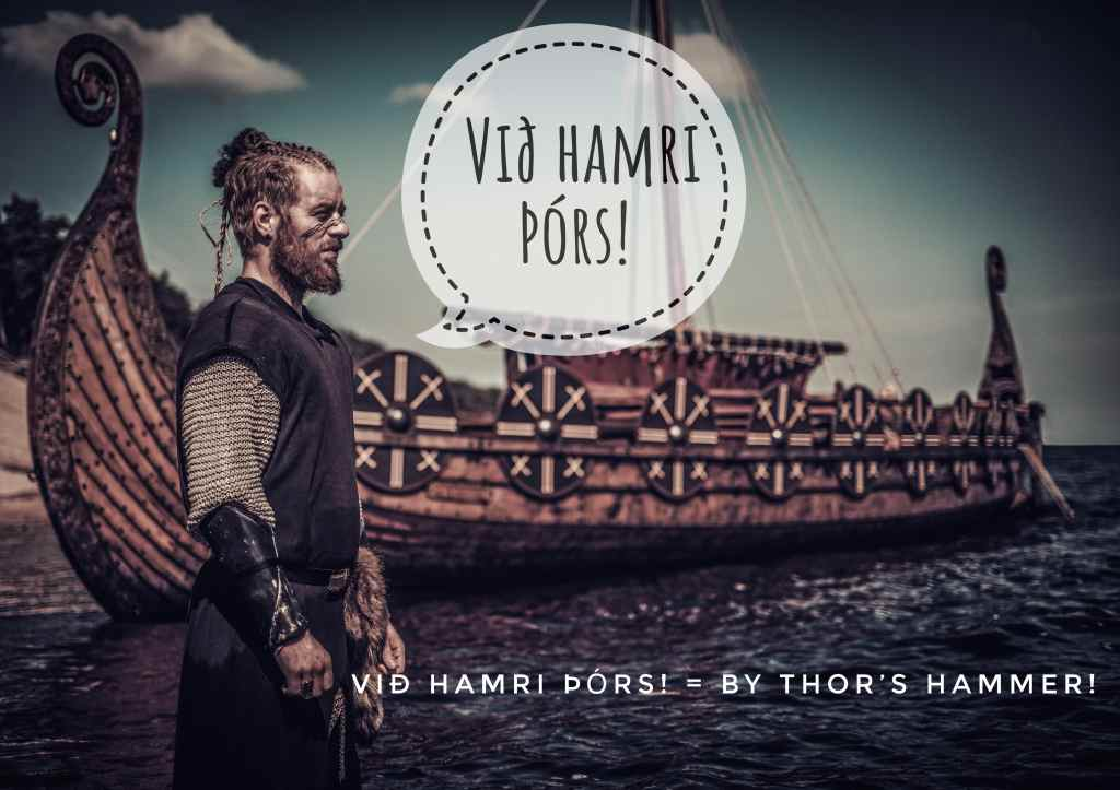 Við hamri Þórs is a Viking curse word that means By Thor's hammer.