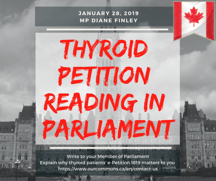 thyroid petition reading in parliament