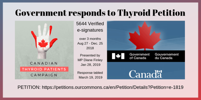Government responds to thyroid petition