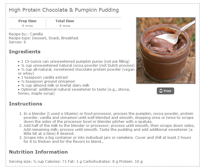 high protein chocolate pudding recipe
