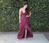 Burgundy Satin Wrap Dress