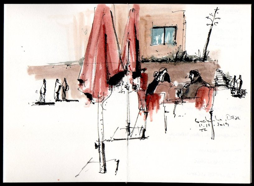 drawing of people in Ofir, Portugal, 11.12.2019