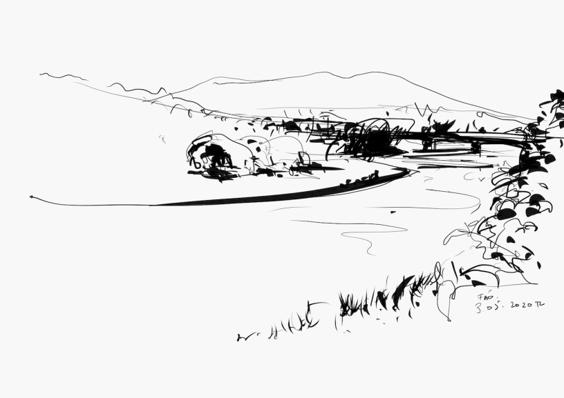 drawing of landscape in Fão (Portugal)