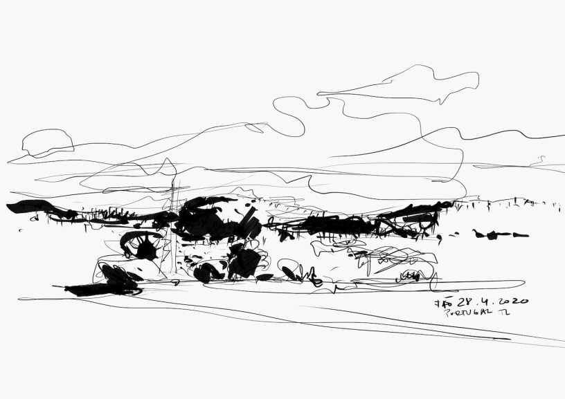 drawing of the landscape in Fão, Portugal