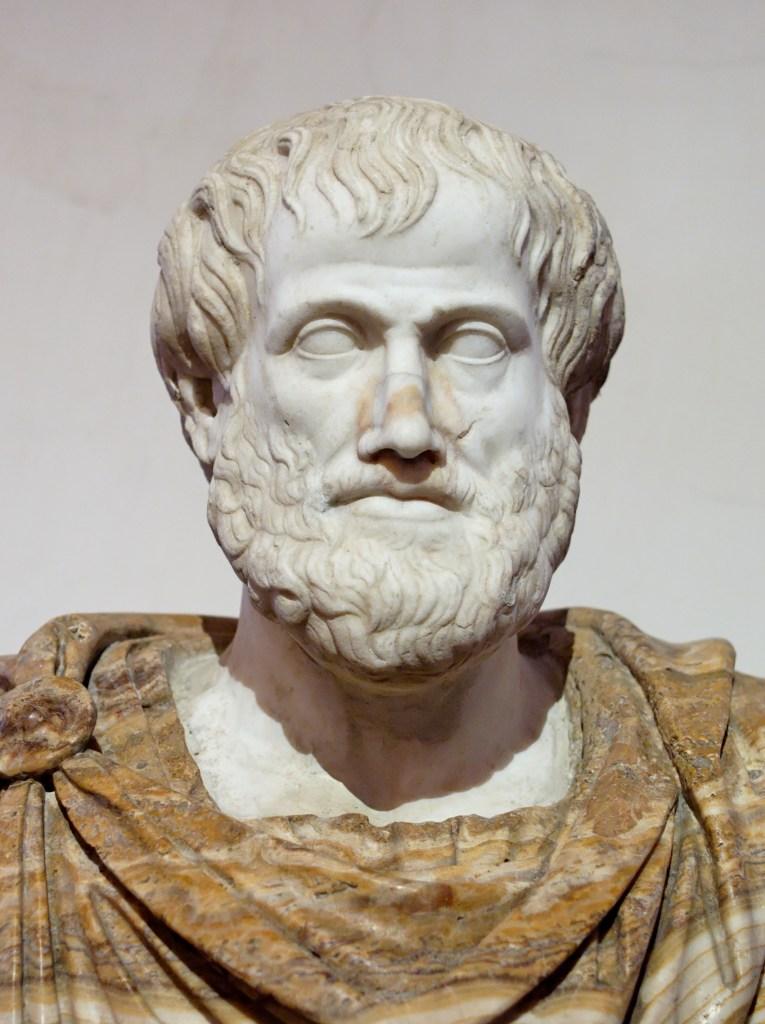 Buste d'Aristote. Marbre, copie romaine d'un original grec en bronze de Lysippse (vers 330 AEC).
