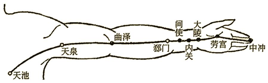 Schémas du méridien du péricarde ou maître du cœur, 手厥阴心包經 shǒu jué yīn xīn bāojīng