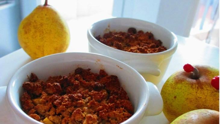Crumble poires farine de châtaigne