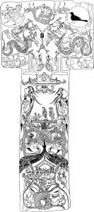 Dessin en noir et blanc de la bannière funéraire de la marquise de Dai