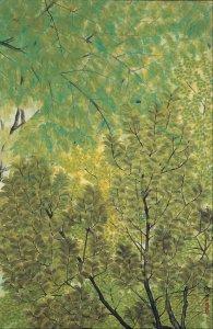 Feuilles nouvelles, couleurs sur papier, 1915, Hayami Gyoshu (1894 - 1935), Musée d'art Adachi -Japon