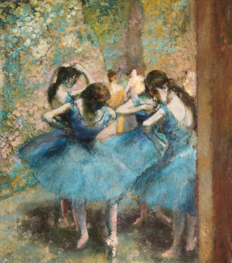 Deux danseuses au repos, dit aussi Danseuses en bleu, vers 1898, pastel sur papier beige et châssis entoilé  d'Edgar Degas