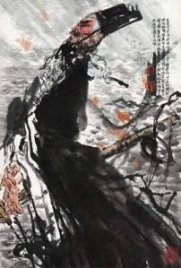 Portrait de Qu Yuan, encre et couleur, sur papier, Shi Qi (1939-)