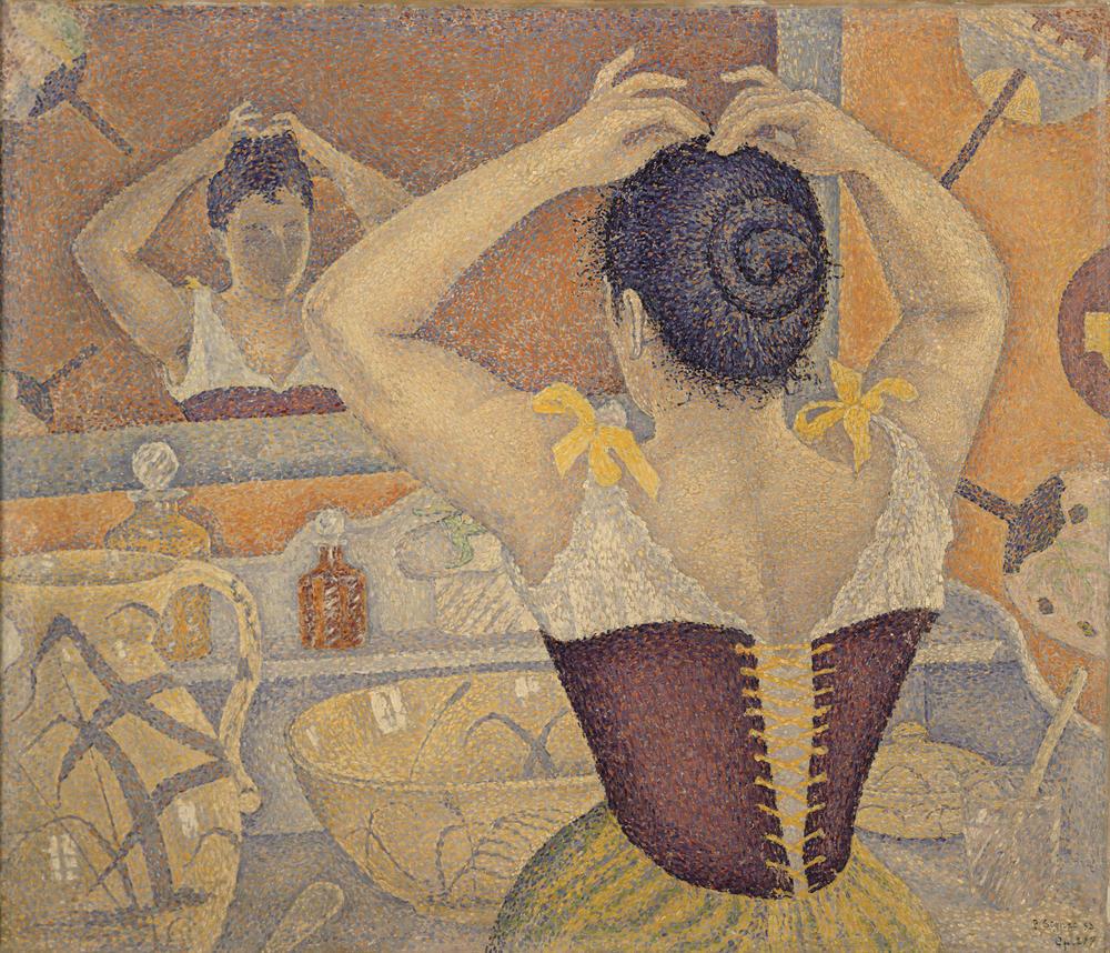 Femme se coiffant, encaustique sur toile marouflée de Paul Signac, 1892