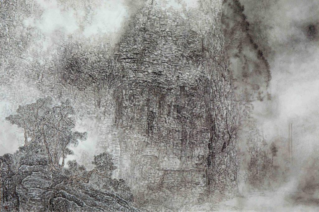 Brume d'eau ondulante, encre & couleur sur papier de GuanZhi