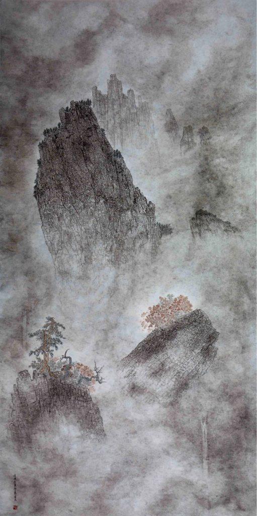 Féerie,  encre & couleur sur papier de GuanZhi