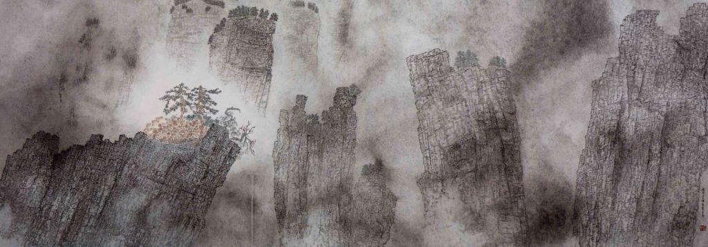 Nuages de montagnes avec-une-profonde conception artistique,  encre & couleur sur papier de GuanZhi