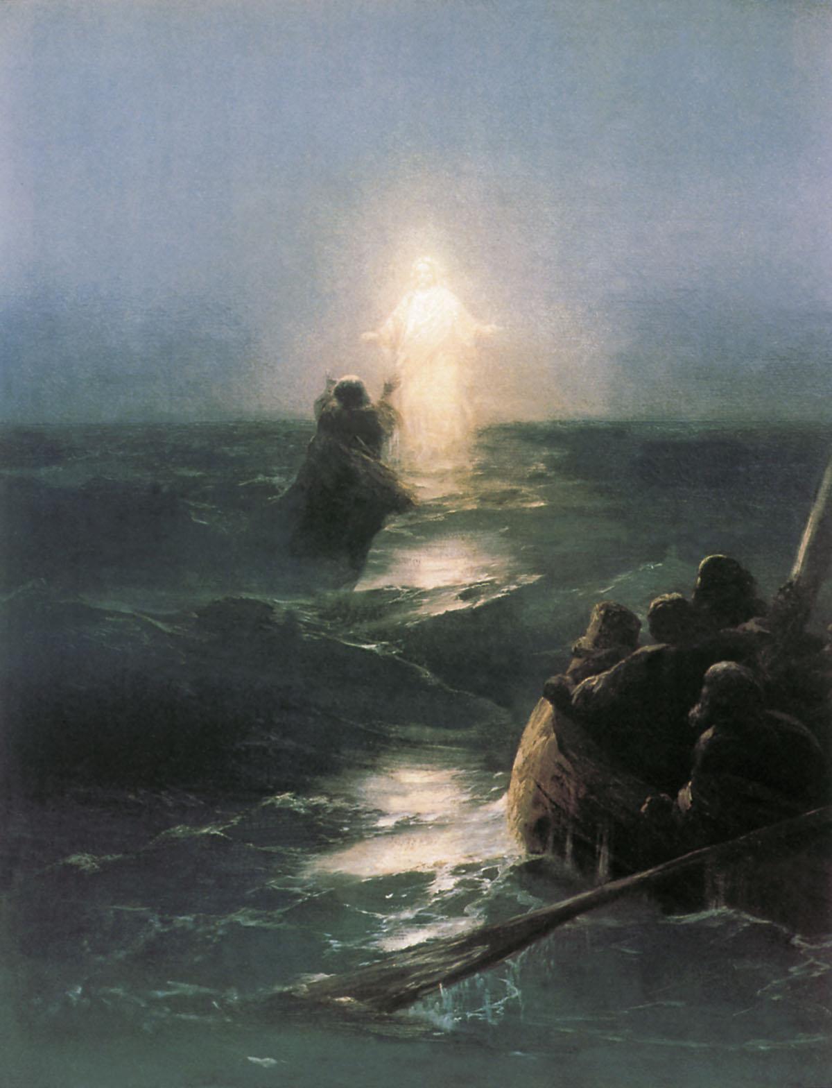 Marcher sur les eaux, 1890, huile sur toile d'Ivan Aivazovsky