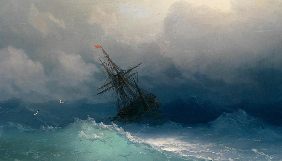 Navire sur une mer agitée, huile sur toile d'Ivan Aivazovsky