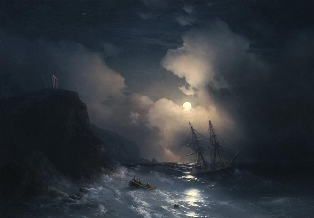 Tempête au cap Sounion, 1856, huile sur toile d'Ivan Aivazovsky