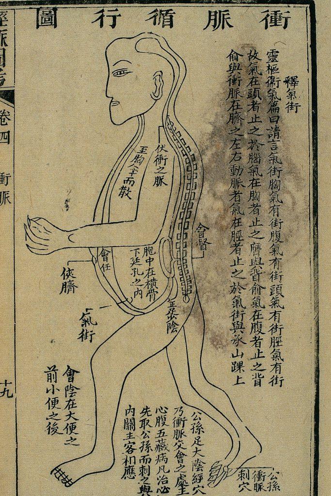 Gravure sur bois, illustrant le trajet du 衝脉 chōng mài