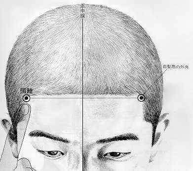 头维 tóu wéi est le neuvième point du méridien de l'estomac