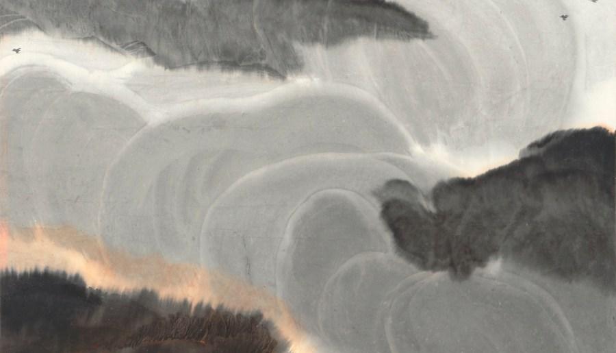 Crépuscule après la pluie, encre et couleurs sur papier de Jia Youfu