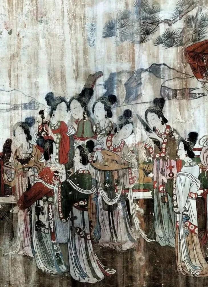 La fête du chant et de la danse, peintures murales du temple de la Vierge de Fuyang