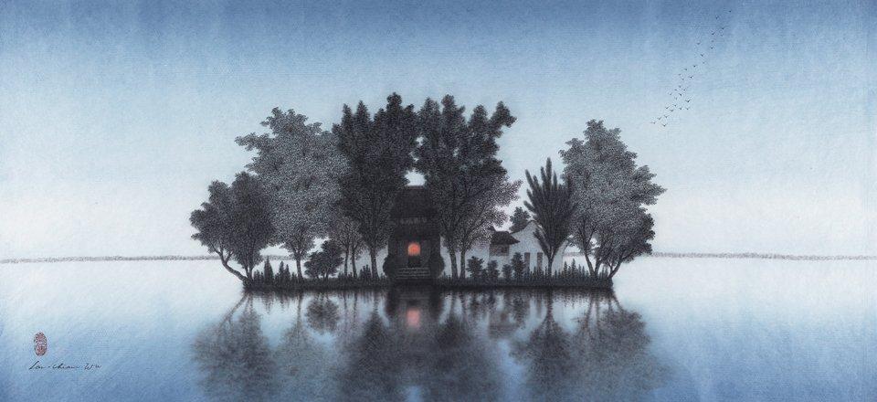 La maison des âmes II, encre, pigment sur papier de Wu Lan-Chiann