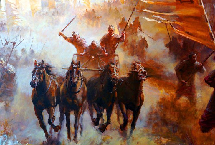Charge des chars de guerre chinois pendant la période des Royaumes combattants