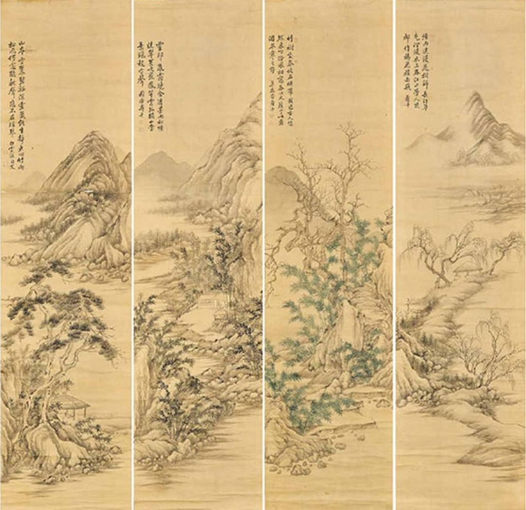 Paysage dans quatre saisons, quatre rouleaux suspendus, encre et couleurs sur soie, Yun Shouping (1633-1690)