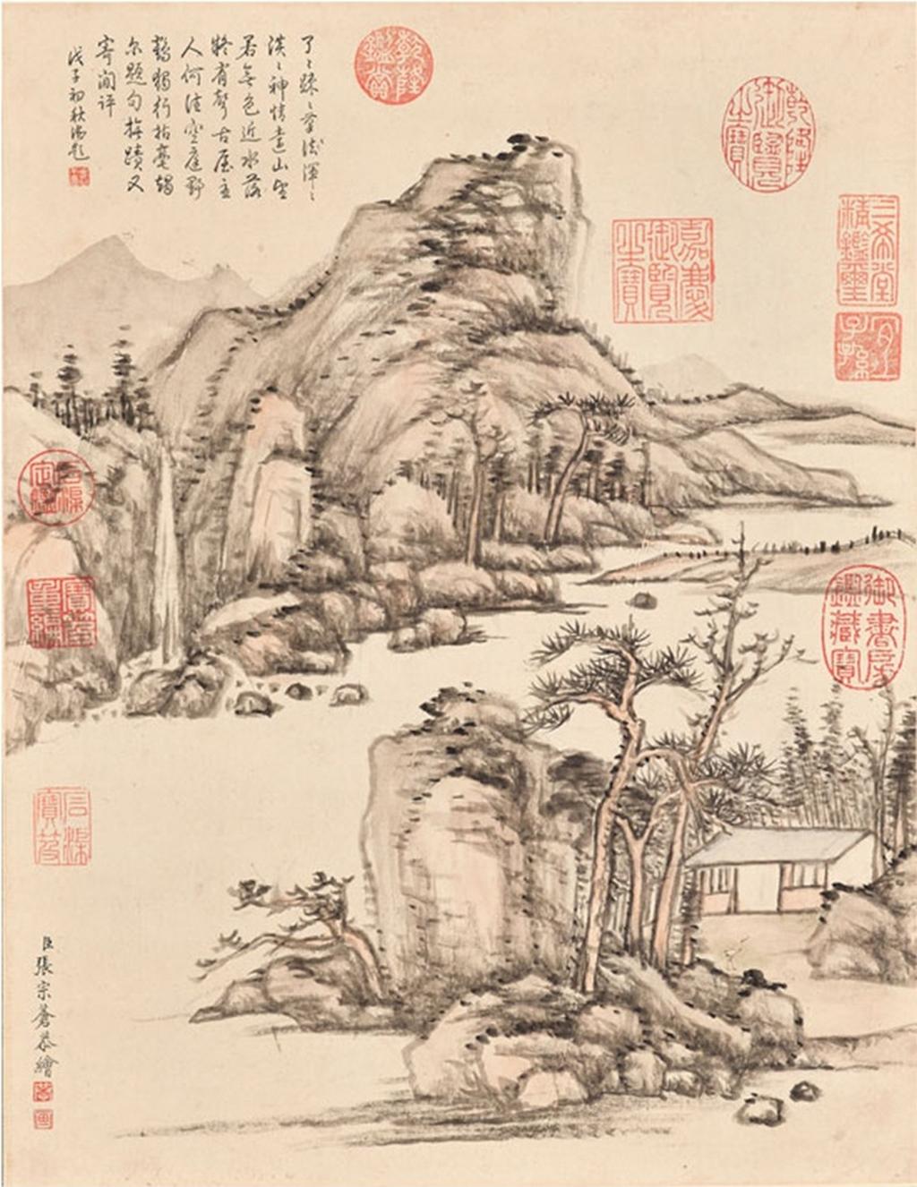 Rêve de l'atelier de grue, rouleau suspendu, encre et couleur claire sur papier, Zhang Zongcang