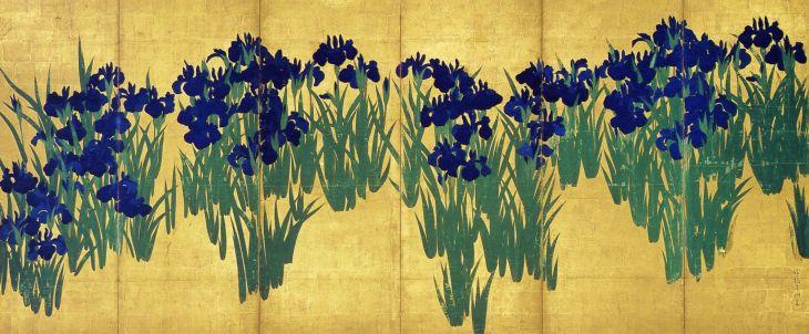 Irisis, écran droit, encre, couleur et or sur papier, d'Ogata Korin