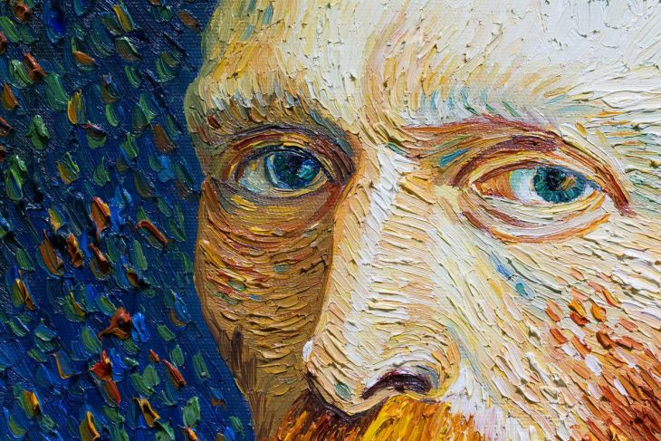 Détail d'une copie de l'Autoportrait de Vincent van Gogh