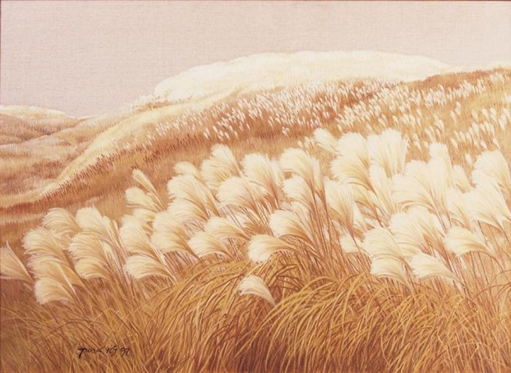 Herbe sauvage et vent, 1997, huile sur toile, Park Kwang-jin