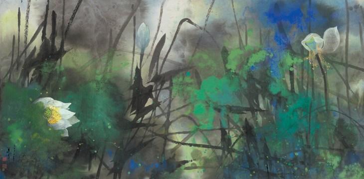 Lotus au vent, encre et couleur sur papier, Yuan Yunfu (1933-)