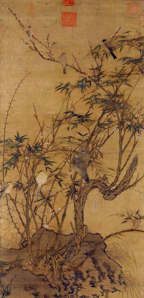 Pruniers, bambous et oiseaux (détail), Empereur Huizong