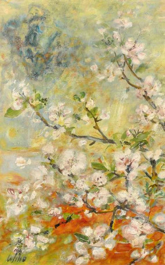 Cerisier en fleurs, huile sur toile, Le Pho