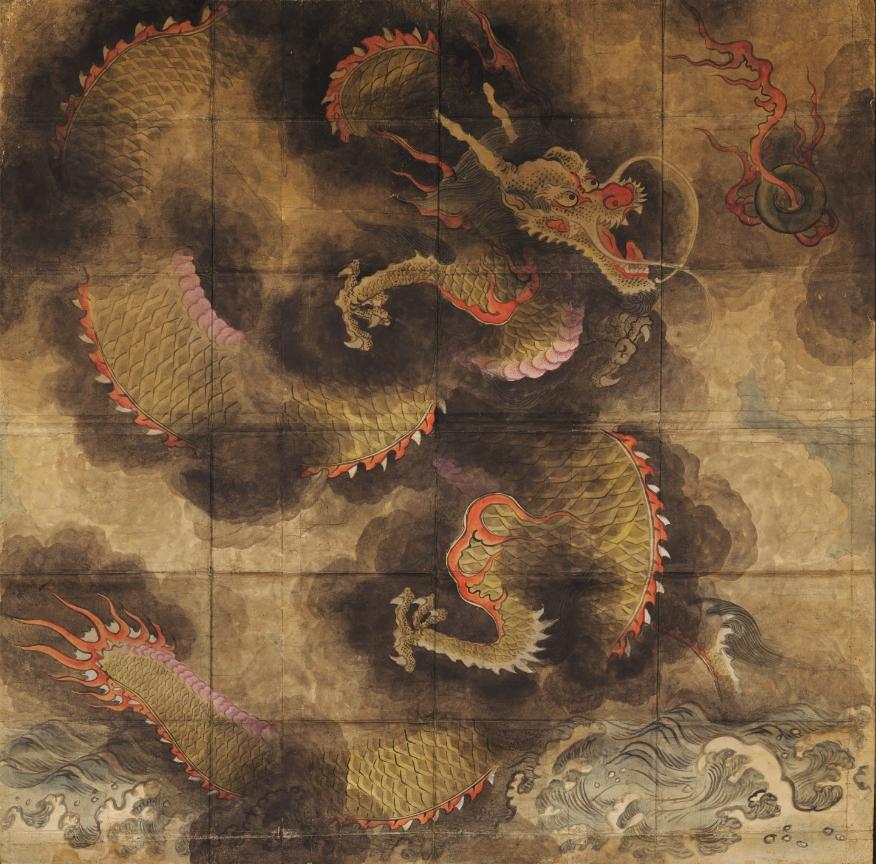 Dragon, encre et couleur claire sur