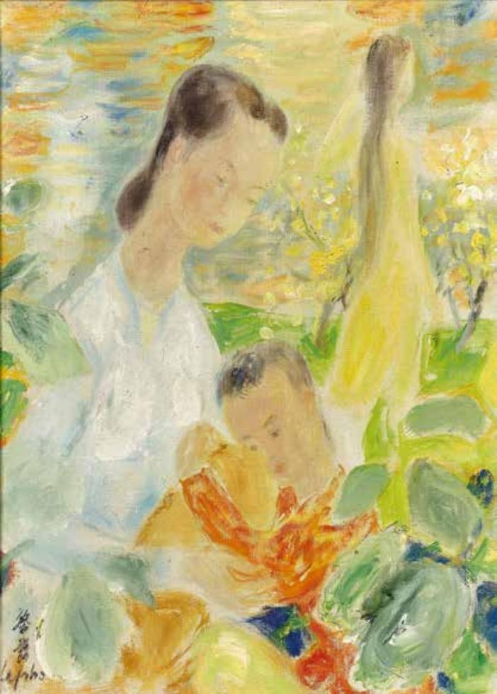 Femme et enfant dans un paysage, huile sur toile, Le Pho (1907-2001)