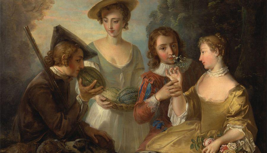 Le sens de l'odorat, entre 1744 et 1747, huile sur toile, Philippe Mercier