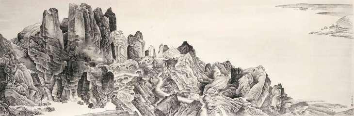 Montagnes aérées, gorges rapides d'après Li Tang, 2004, encre sur papier, Liu Dan