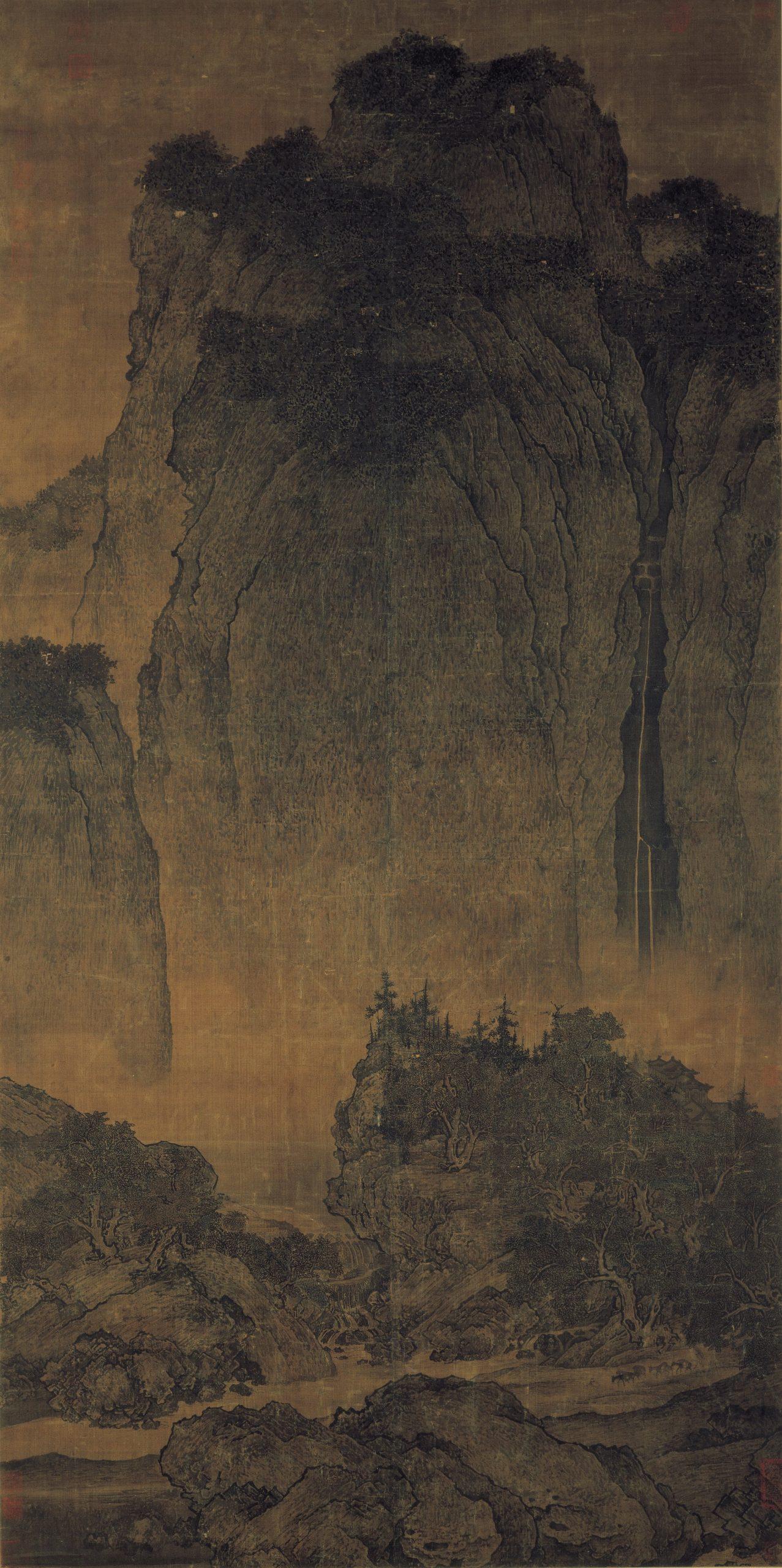 Voyageurs parmi les montagnes et les ruisseaux, 1000, encre sur soie, Fan Kuan
