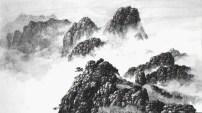 Falaises brumeuses avec herbe de montagne, 1998, encre sur papier xuan, Hsia I-fu