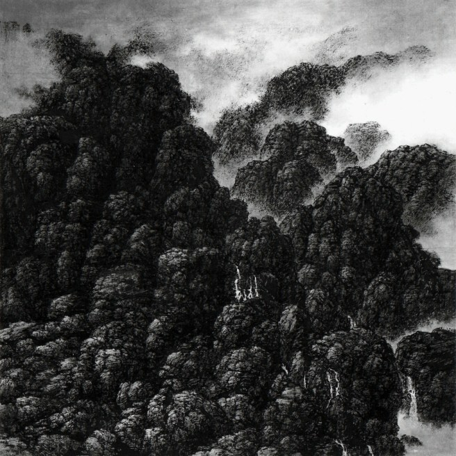 Falaises et cascades, minuscules cascades, 2000, encre sur papier Xuan, Hsia I-fu