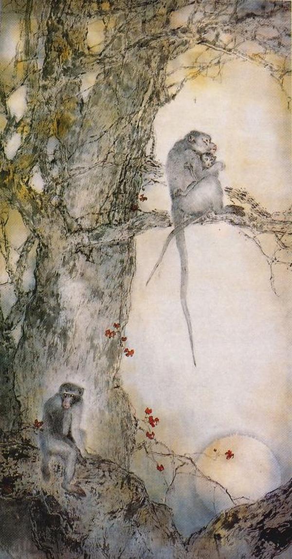 Deux singes avec arbre, Yang Shanshen