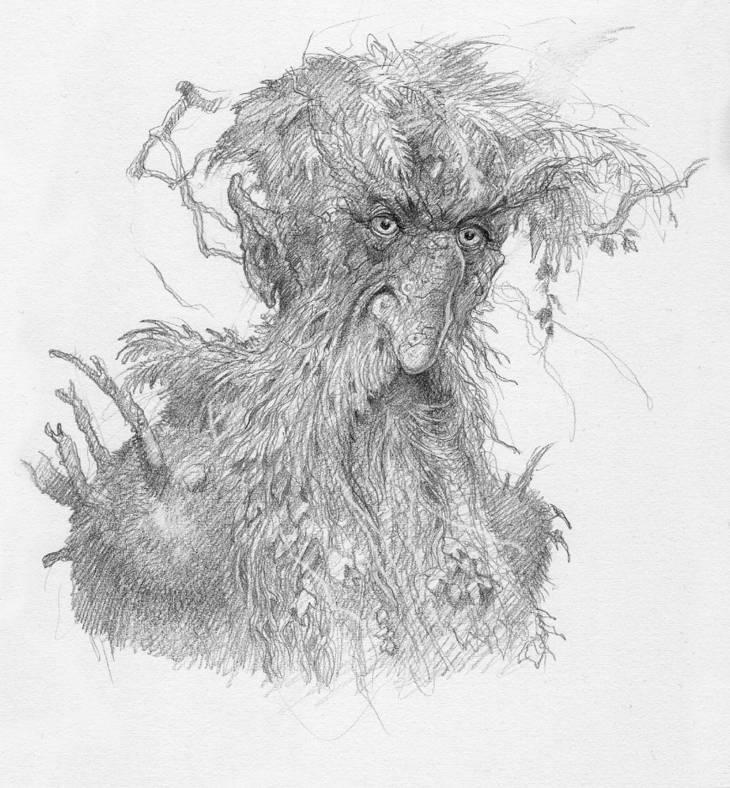 Ent gardien de la forêt de Fangorn, illustration de John Howe pour le Seigneur des anneaux