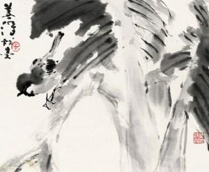 Petit oiseau et bananier du Japon, encre sur papier, Yang Shanshen