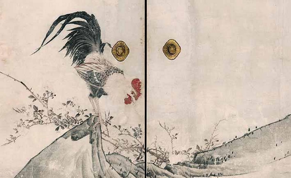 Poulet et roses, 1786, détail d'un ensemble de huit panneaux coulissants, encre et couleur claire sur papier, Nagasawa Rosetsu