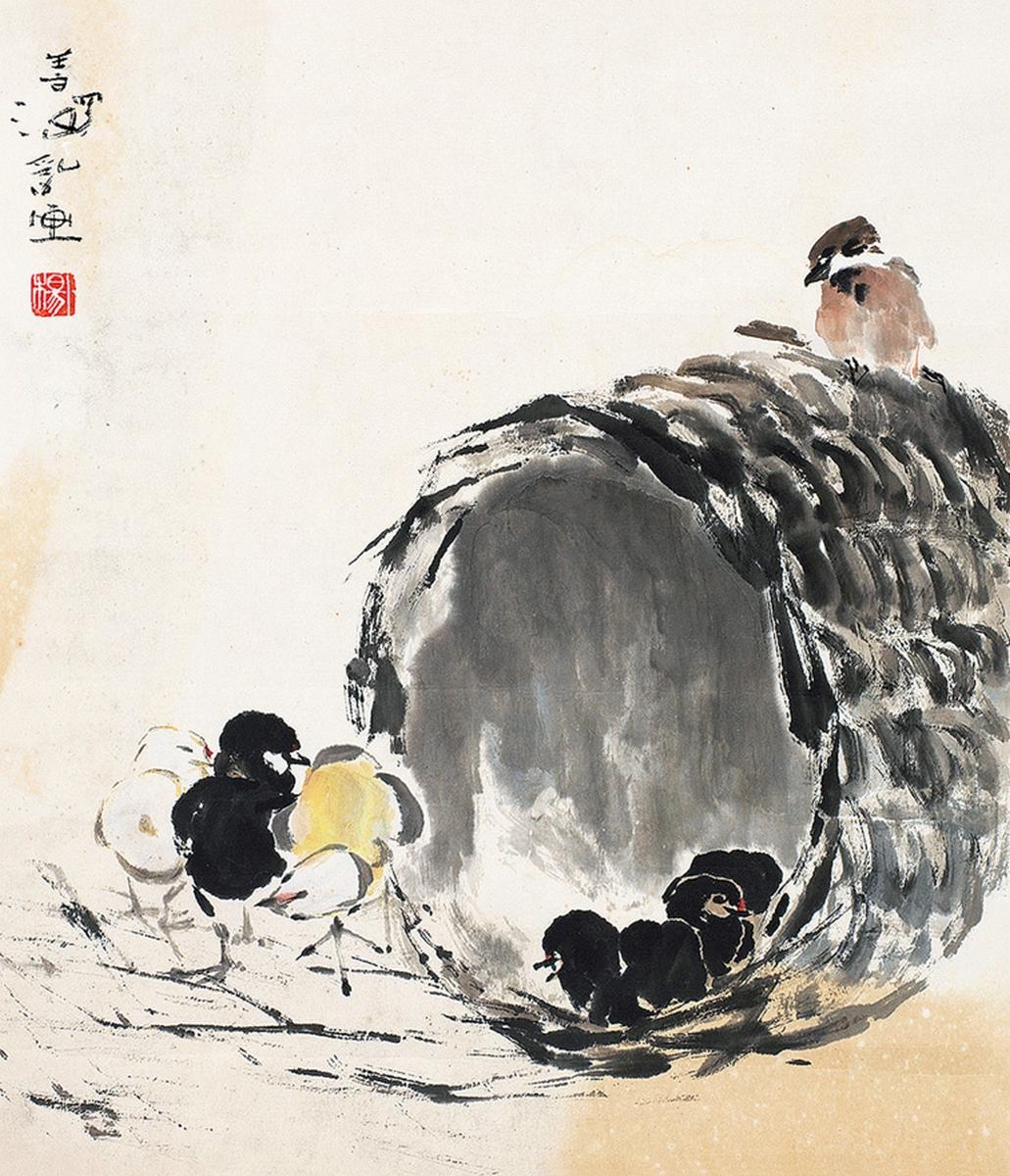 Poussins, encre et couleur sur papier, Yang Shanshen